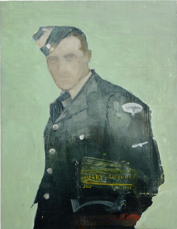 Harry in Uniform 1943. Oil on Emma Louise Pratt.