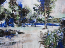 Huerto del Rey Moro III China Blue 810mm x 600mm acryllic and graphite on canvas. Emma Louise Pratt 2012.