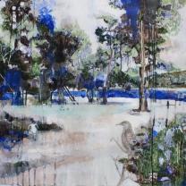 Huerto del Rey Moro III China Blue 810mm x 600mm acryllic and graphite on canvas. Emma Louise Pratt 2012.