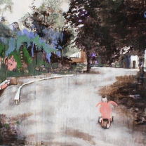 El Huerto del Rey Moro IV The Tricycle 810mm x 620mm acryllic and graphite on canvas. Emma Louise Pratt 2012