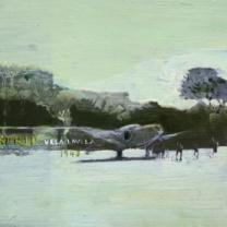 Barakoma Strip Vela Lavela 1943. Oil on board Emma Louise Pratt.