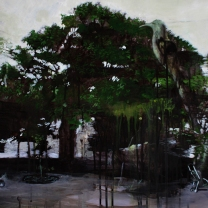 Huerto del Rey Moro I Koekoea and The Fig 900mm x 550mm acryllic and coloured pencil on canvas. Emma Louise Pratt 2012.