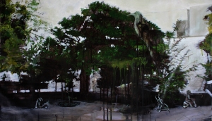 Huerto del Rey Moro I Koekoea and The Fig 900mm x 550mm acryllic and coloured pencil on canvas. Emma Louise Pratt 2012.