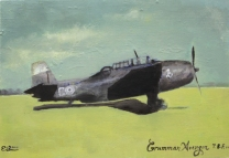 Grumman Avenger T.B.F. Oil on board Emma Louise Pratt.