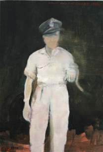 Harry with a snake 1944. Oil on Board by Emma Louise Pratt.