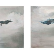 """""""P38 Escort with us on one of our patrols"""" and """"P38 with us on a Betty Strike."""" Oil on board by Emma Louise Pratt."""