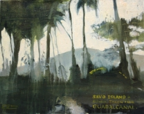 Oil on Board: Savo Island in distance taken from Guadalcanal.