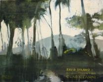 Oil on Board: Savo Island in distance taken from Guadalcanal.