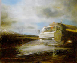 Resurfacing State Highway One Oil on canvas, Emma Louise Pratt