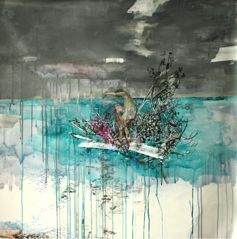 the-raft-acryllic-carbon-pencil-on-gabardine-93cm-x-93cm-emma-louise-pratt